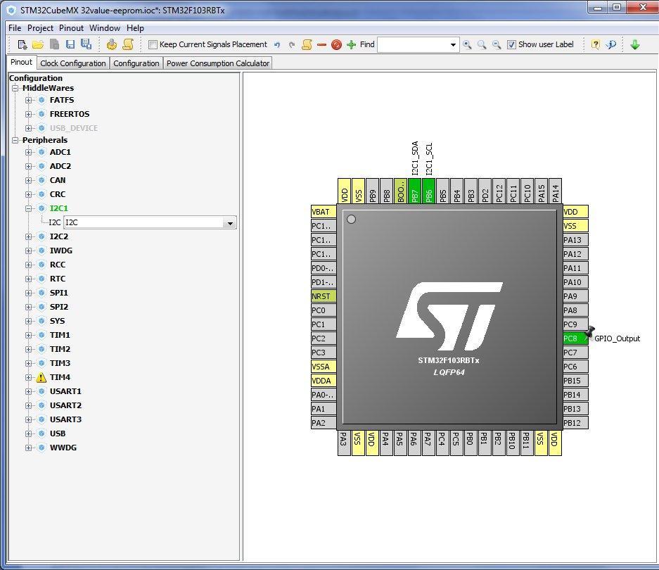 Рис.5. Включение шины I2C в CubeMX