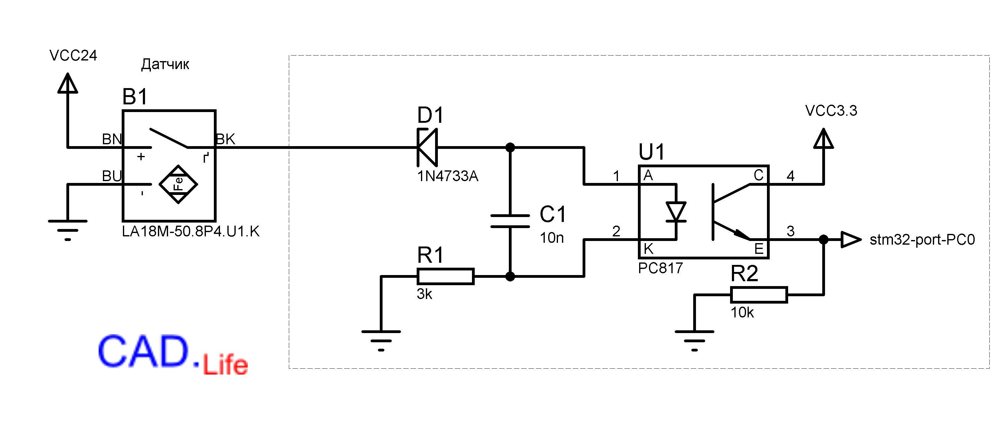 Рис.3. Не инвертирующая схемавключения датчика через оптрон