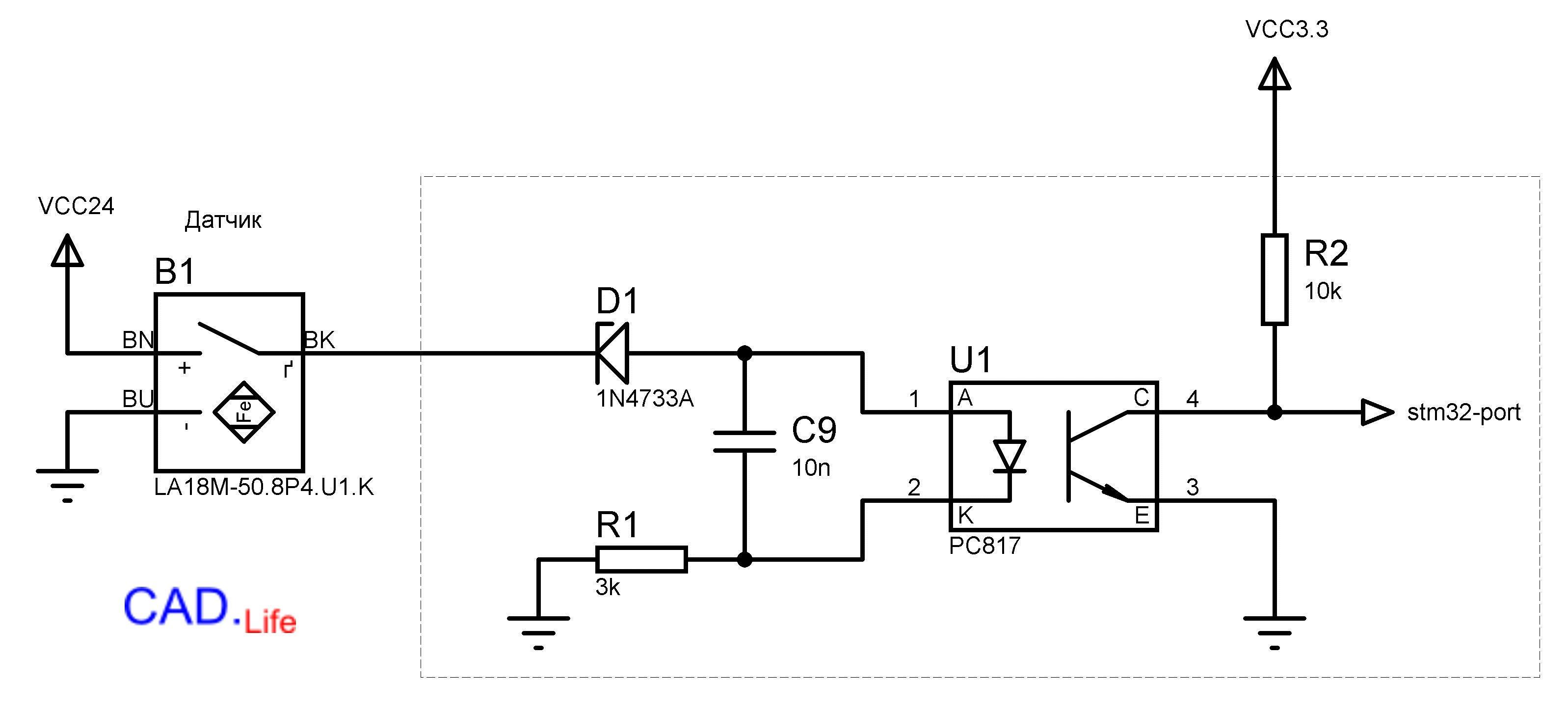 Рис.4. Инвертирующая схемавключения датчика через оптрон