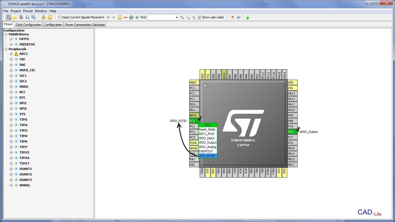 Рис.5. Настройка входов и выходов микроконтроллера STM32 в CubeMX