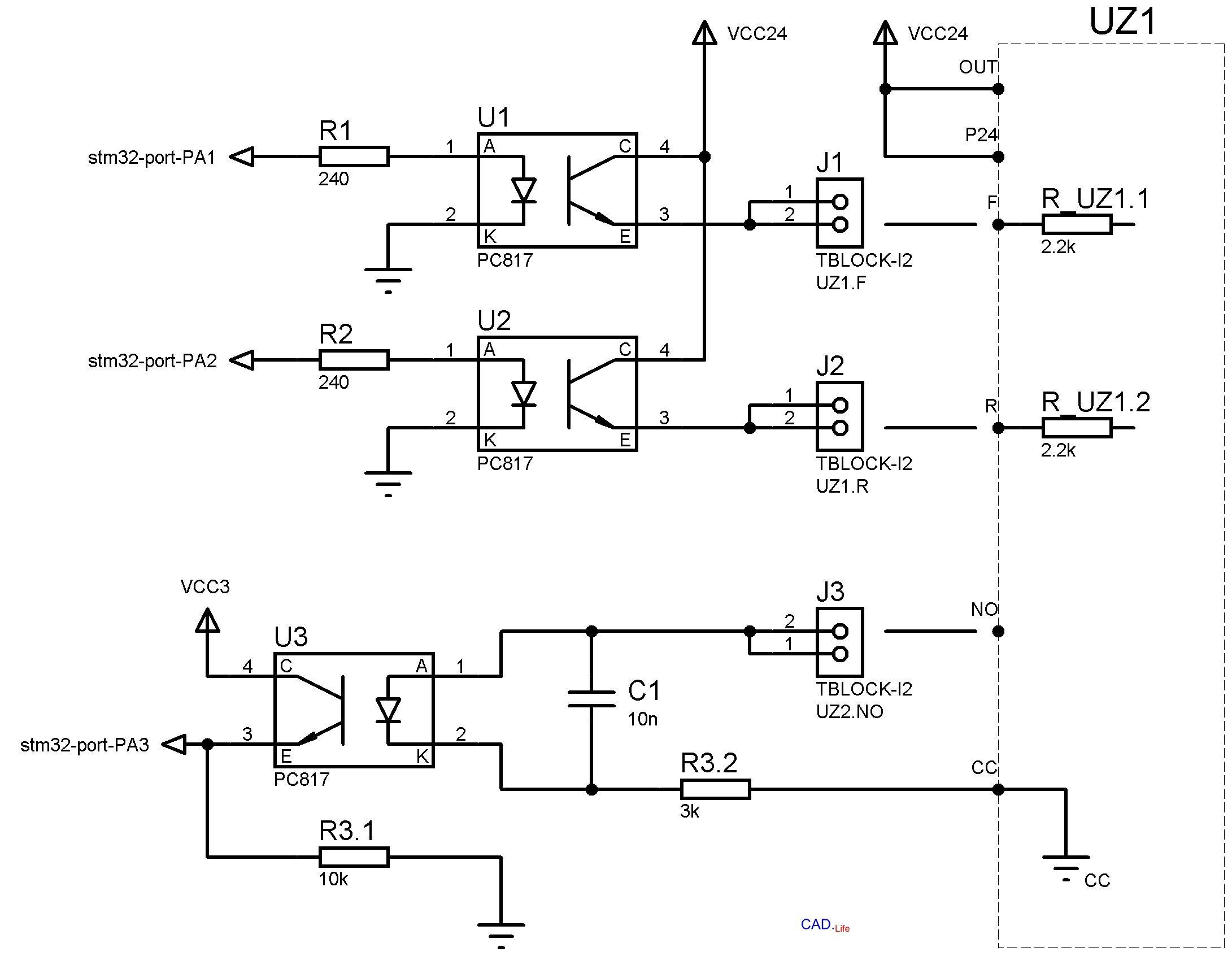 Рис.3. Не инвертирующая схема включения датчика через оптрон