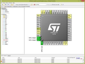 Рис.4. Настройка входов и выходов микроконтроллера STM32 в CubeMX