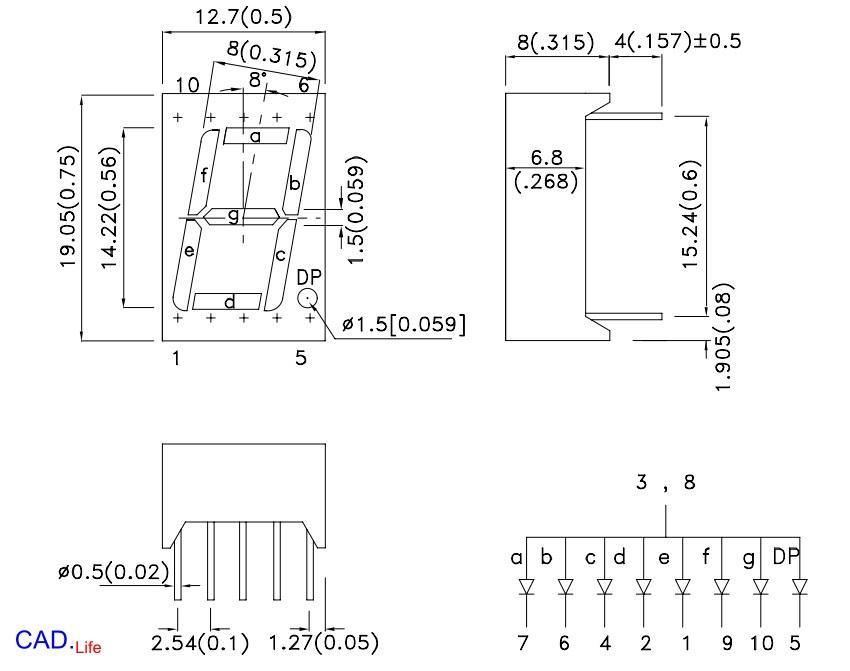 Рис.2. Семисегментный индикатор с общим анодом SA56-11SRWA