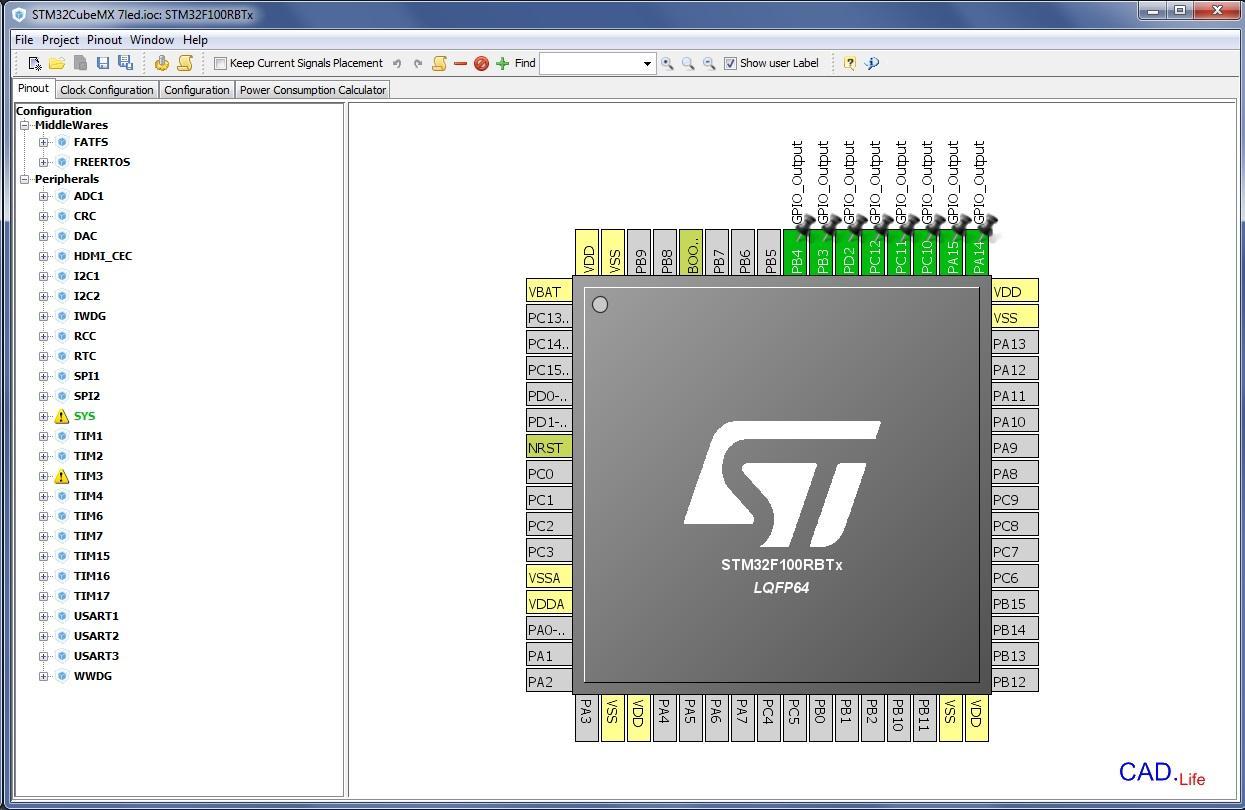 Рис.5. Настройка выходов микроконтроллера STM32 в CubeMX