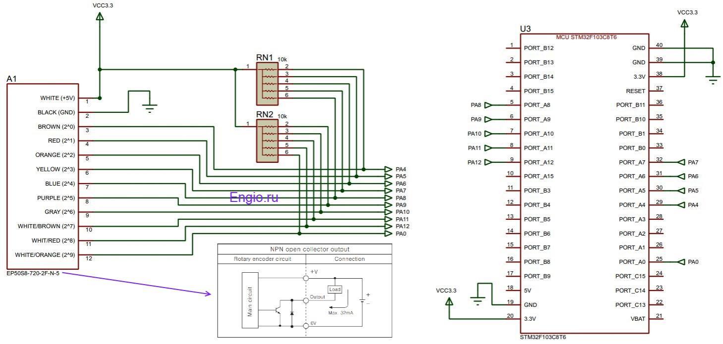 Рис.5. Схема подключения абсолютного энкодера EP50S8 к микроконтроллеру STM32