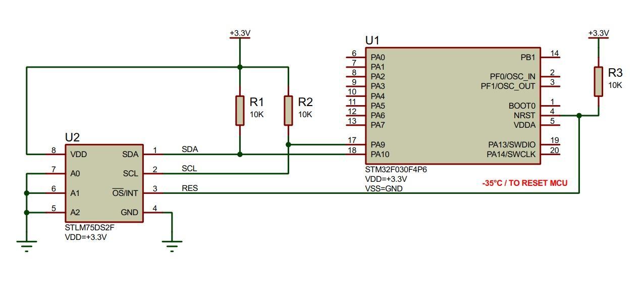 Рис.3. Схема подключения датчика температуры STLM75 к микроконтроллеру STM32