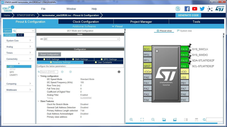 Рис.5. Настройка выводов STM32 в CubeMX