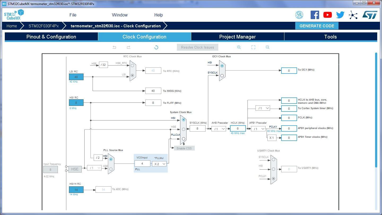 Рис.6. Настройка тактового генератора STM32 в CubeMX